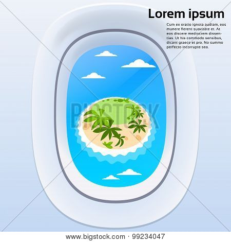 Aircraft Window View Tropical Island Ocean Summer Vacation Plane Tourism
