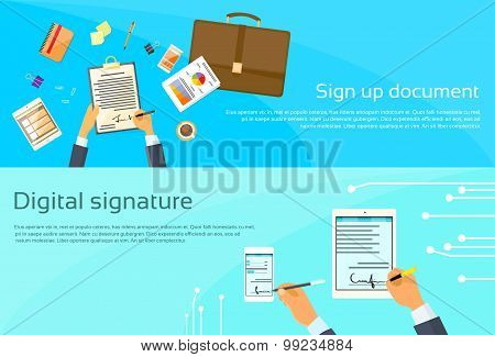 Contract Sign Up Paper Document Businessman Agreement Digital Signature