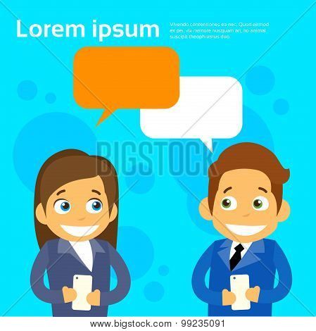 Business People Couple Cartoon Character Using Cell Smart Phone