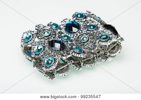 Bracelet with blue stones over white