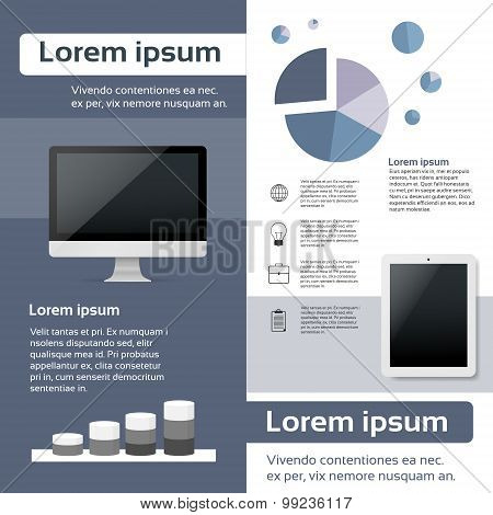 Desktop Compter Tablet Infographics Web Page Layout Template