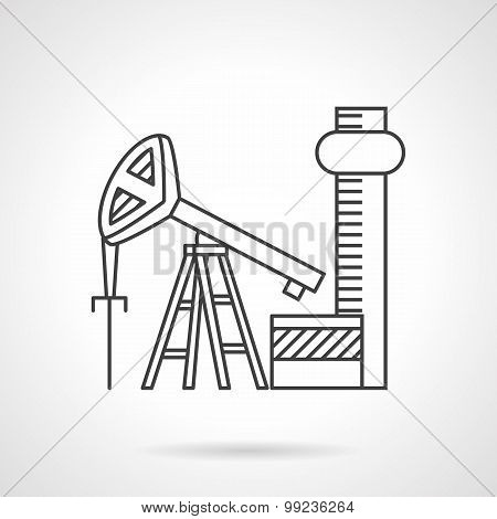 Oil extraction line vector icon