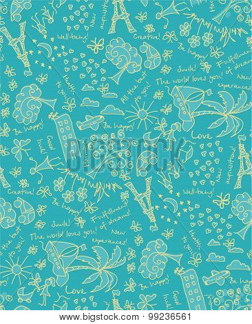 Vector Goals dreams and wishes background. Seamless pattern