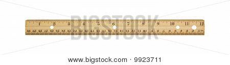 Twelve Inch Wooden Ruler.