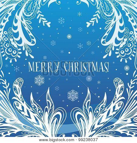 Abstract Blue Vector Christmas Card