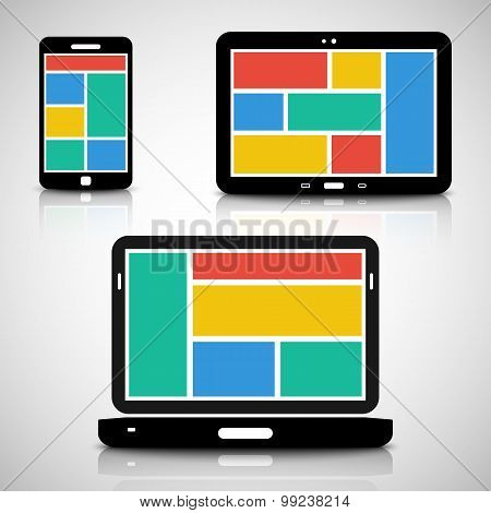 Smartphone, Tablet And Laptop With Tiled Style Graphic User Interface