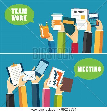 Banner Teamwork And Meeting Concept Flat Design