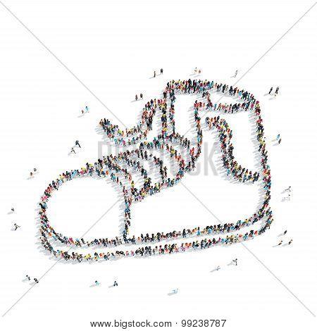 group  people  shape  shoes cartoon