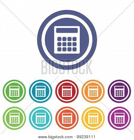 Calculator signs colored set