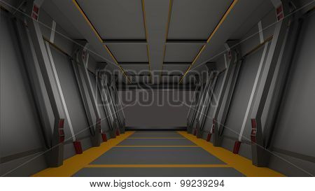 Sci Fi  Corridor High Resolution 3D  Render