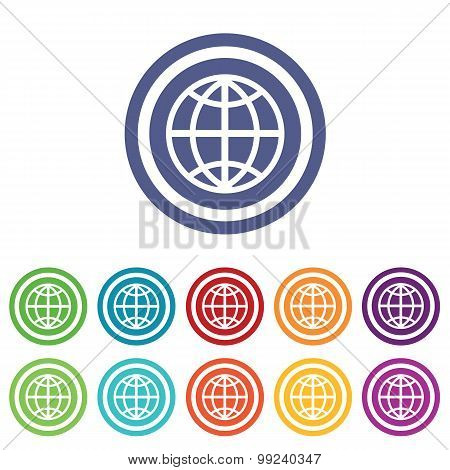 Globe signs colored set