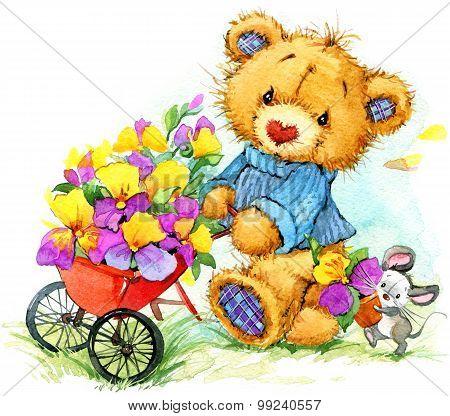 Teddy bear sells seeds of garden flowers. watercolor