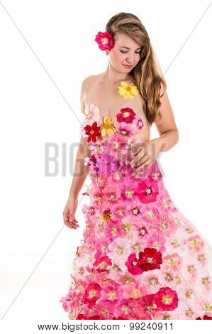 elegant woman in a dress from flowers