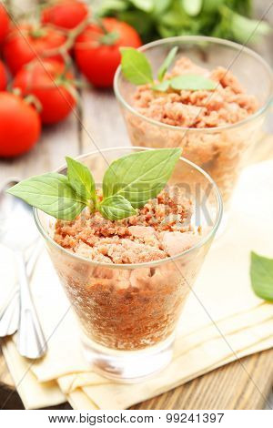 Glass With Granita From Fresh Tomatoes On Grey Wooden Background