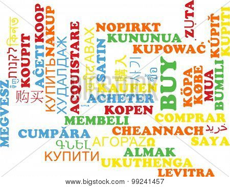 Background concept wordcloud multilanguage international many language illustration of buy