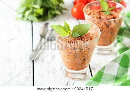 Glass With Granita From Fresh Tomatoes On White Wooden Backgroun