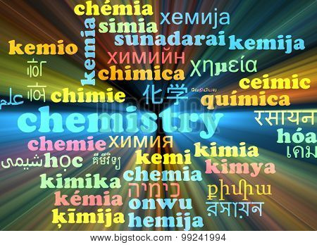 Background concept wordcloud multilanguage international many language illustration of chemistry glowing light