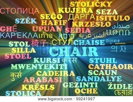 Background concept wordcloud multilanguage international many language illustration of chair glowing light