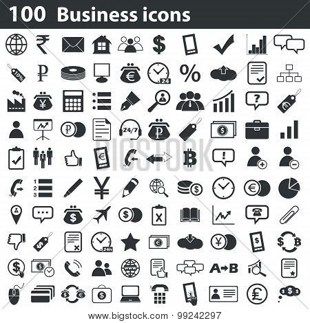 100 business icons set