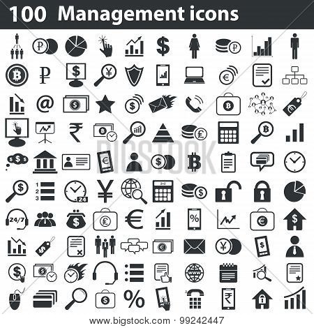 100 management icons set