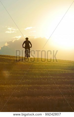 Silhouette Sport Man Cycling Downhill Riding Cross Country Mount