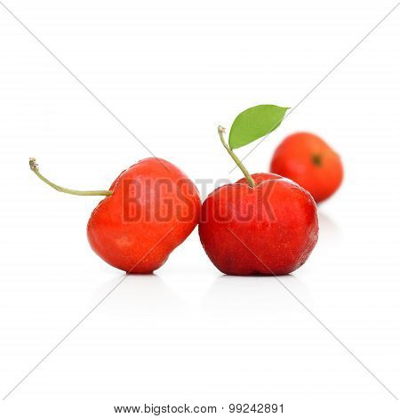 West Indian Cherry With Leaf Isolate On White Background