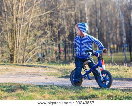 little boy on running bike in park