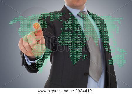 Businessman hand pointing with world map background