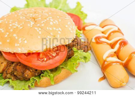 Classic Big Hamburger On Dish Isolate