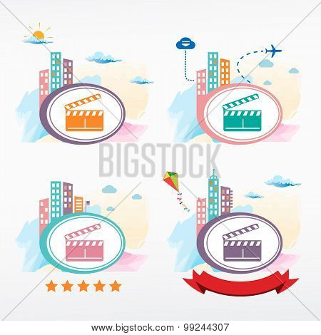 Vector Clapper Boards Icon On City Background.