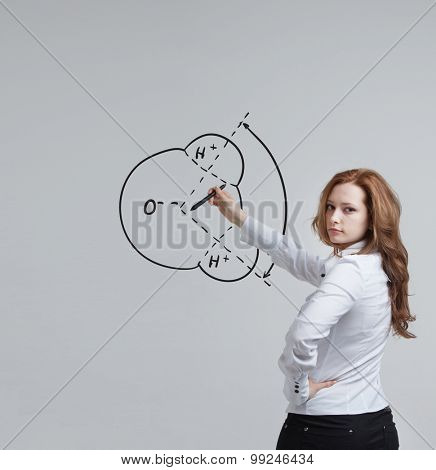 Young woman draws water molecule