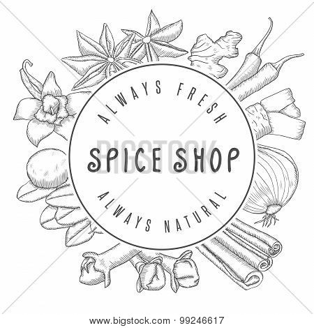 Hand drawn vector spice shop emblem.