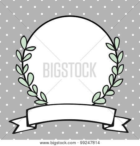 Laurel wreath vector frame on polka dots grey background