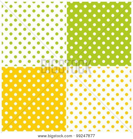 Tile vector pattern set with polka dots on white, green and yellow background