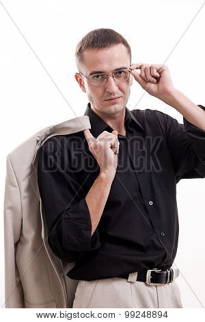 Portrait Of Man In Black Shirt Wearing Glasses.