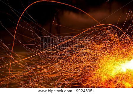 Sparkling Red Flame As  Abstract Fire Background