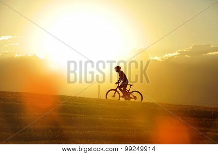 Profile Silhouette Sport Man Cycling Uphilll Riding Cross Country Mountain Bike