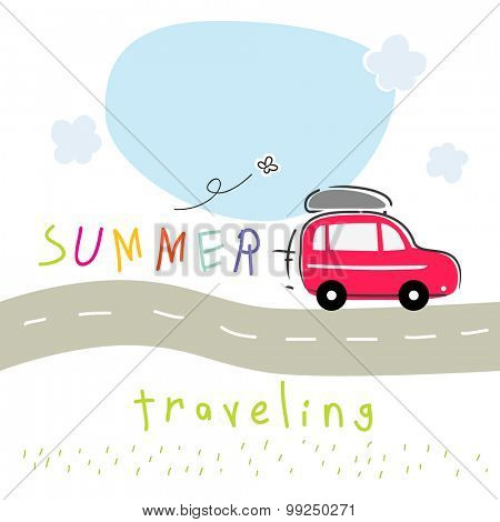 Summer vacation travel with car. Road trip creative vector illustration.