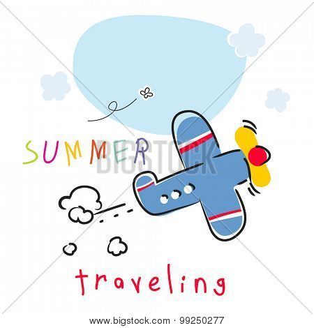 Summer vacation plane travel vector illustration.