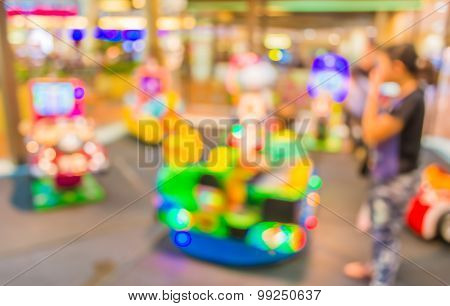 Arcade Game Machine Shop Blur Background With Bokeh Image .