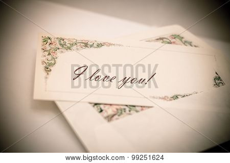 Vintage Artistic Edit Of A Decorated Letter Card With And Envelope