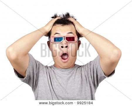 3D glasses and shocked man