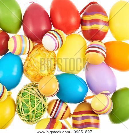 Multiple colorful Easter eggs