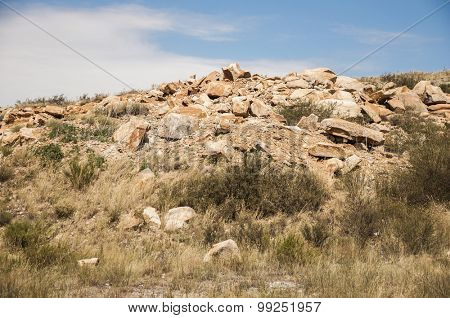 Landscape of the rock under the blue sky