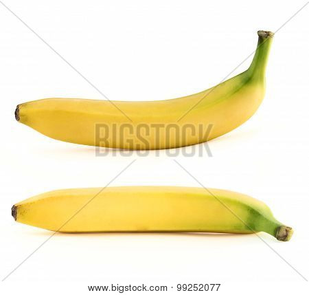 Set of two spotless yellow bananas over white