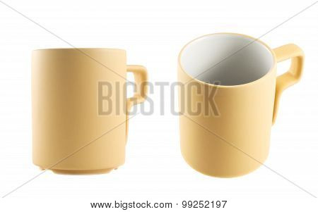 Light beige ceramic cup isolated