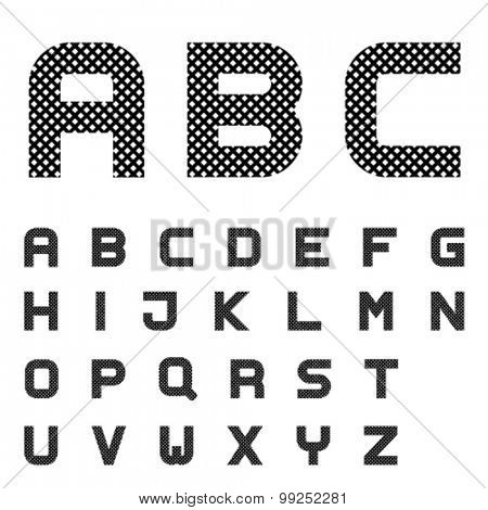 vector black checkered font alphabet letters