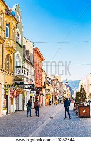 Pedestrian Republicii Street  At Downtown Of Brasov, Romania.