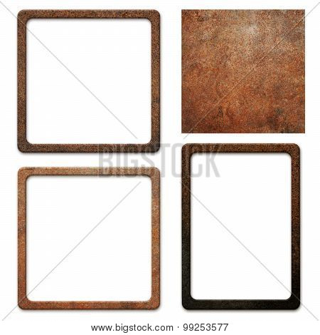 Old, dirty, rusty metal plate with frames