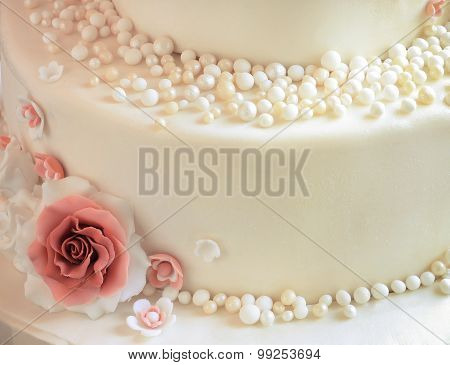 Sugar Roses With Pearls On The Cake Closeup